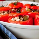 Fromage et vert Olive Stuffed Tomatoes Images libres de droits