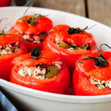 Fromage et vert Olive Stuffed Tomatoes Photographie stock