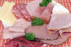 Fromage et viande de déjeuner Photo stock