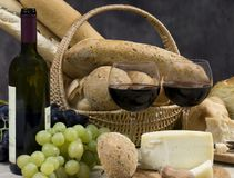 Fromage et vin 10 de pain Photo stock