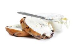 Fromage fondu de bagel Photos libres de droits
