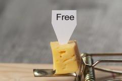 Fromage gratuit dans une souricière à clapet Images libres de droits