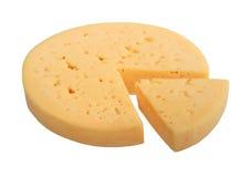 Fromage jaune de forme de cercle avec la cloison de secteur. images stock