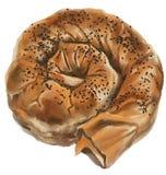 Fromage ou spirale remplie par épinards de la pâte Photo libre de droits