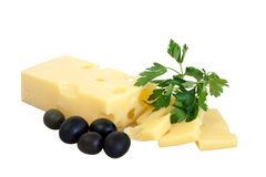 Fromage, persil et olives noires Photos stock