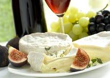 Fromage, raisin, figues et vin Image libre de droits