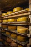 Fromage vieillissant à la fromagerie Photographie stock libre de droits
