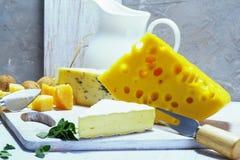 Fromages et lait sur un vieux conseil léger Vue rustique image stock