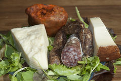 Fromages et salami Photographie stock