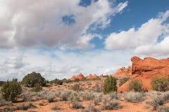 Fromations ondulantes de la piedra arenisca de las motas del sur del coyote Imagen de archivo