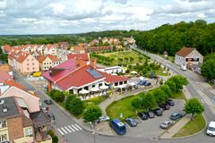 FROMBORK, POLAND. A view of the central part of the city from height of bird`s flight stock image
