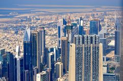 fromBurj de la visión, Dubai viejo y nuevo fotos de archivo libres de regalías