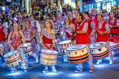 Frome狂欢节的狂欢节鼓手 库存图片