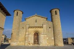 Fromista罗马式教会在途中的向圣地亚哥, Palenc 免版税库存照片