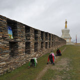 Frommer Prostration in Tibet Lizenzfreies Stockbild
