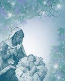 Frommes Blau der Geburt Christi-Weihnachtskarte stockbild