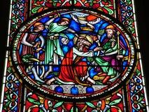Frommes Buntglasfenster Stockbild