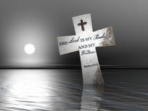 Frommes Kreuz im Wasser Lizenzfreies Stockfoto