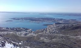 FromMountain miasto Nuuk Greenland Zdjęcie Stock