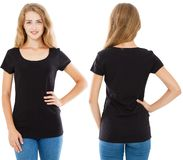Fron back views woman,girl in black t-shirt isolated on white background,tshirt collage.  stock images