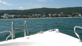 Fron view of a boat in the sea. Going fast. Active vacation stock footage