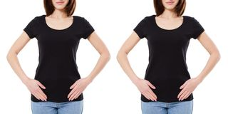 Fron view two woman in black t-shirt isolated on white background,blank,copy space.  stock photo