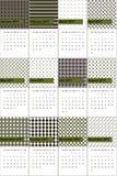 A fronda da samambaia e o cavaleiro de noite coloriram o calendário geométrico 2016 dos testes padrões ilustração stock