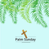 Fronde de dimanche de paume et fond de vecteur de croix Illustration de vecteur pour les vacances chrétiennes photos stock