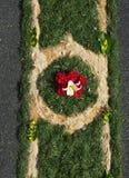 Fronleichnam. Corpus Christi. Flower carpet. Procession. Pattern. Background Stock Photos