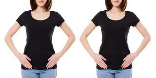 Fronmening twee vrouw in zwarte die t-shirt op witte achtergrond, spatie, exemplaarruimte wordt geïsoleerd stock foto