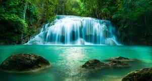Fronmening van Erawan-waterval Stock Afbeelding