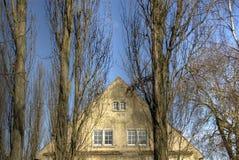 Frontão e árvores da casa Fotografia de Stock