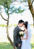 Front émouvant de couples romantiques de nouveaux mariés Photo stock
