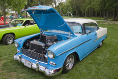 Front of 1955 Chevrolet Bel Air. COMBINED LOCKS, WI - AUGUST 18: Front of 1955 Chevrolet Bel Air Aqua Blue & White car at the 2nd Annual Horizon of Hope Stock Photo