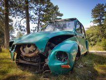 Front of a abandoned  Dyane 2CV car. Lower angle shot of a dyane 2CV car found Inca forest Stock Images