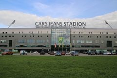 Front of the ADO Den Haag stadium at the Forepark in the hague named to sponsor Car Jeans. Front of the ADO Den Haag stadium at the Forepark in the hague named stock photos