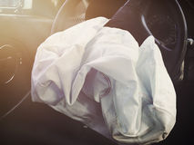 Front Airbag Defalted from Car Accident Royalty Free Stock Photos
