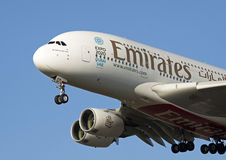Front of a Airbus A380 from  Emirates Stock Photo