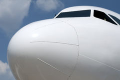 The front of an aircraft in close up stock photography