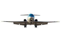 Front airplane. Front view of a landing airliner. Isolated with clipping path Royalty Free Stock Photo