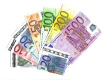 Front All Euro Banknotes Stock Images