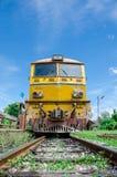 Front of Alsthom locomotive. Front of Alsthom locomotive in afternoon at Kabinburi station' Thailand Stock Photo