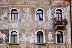 Front of an ancient building, Trento Royalty Free Stock Photography