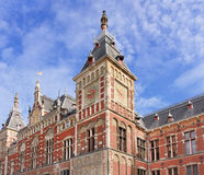 Front of ancient Central Railway Station, Amsterdam, Netherlands. Royalty Free Stock Photos