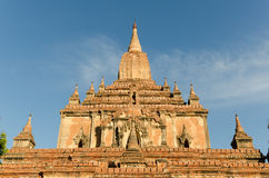 The front of ancient Htilo Minlo pagoda at dawn with blue sky Stock Photography