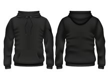 Front And Back Black Hoodie Vector Template Royalty Free Stock Photos