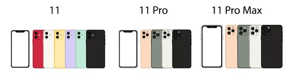 Free Front And Back Side New Iphone 11 Pro Max. Vector Simple Graphic Illustration. Royalty Free Stock Photography - 160272867