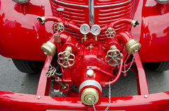 Front of antique firefighters' car Stock Images