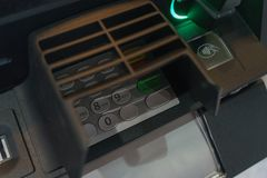 Front ATM panel with a keyboard for entering a password, a fingerprint scanner and a wireless connection. Royalty Free Stock Photos