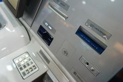 Front ATM panel with a keyboard for entering a password, a fingerprint scanner and a wireless connection. Royalty Free Stock Images